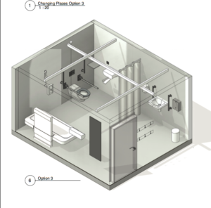 3D Schematic of Option 3 WashPod for Changing Places