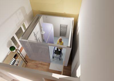 Visualisation of elderly lady in internal mini WashPod