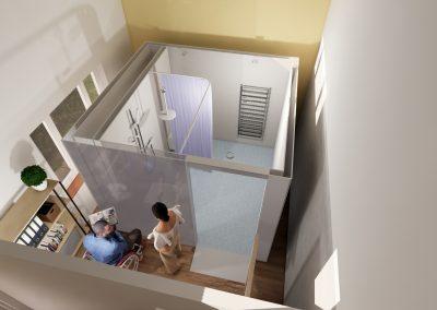 Visualisation of young couple outside an internal mini WashPod
