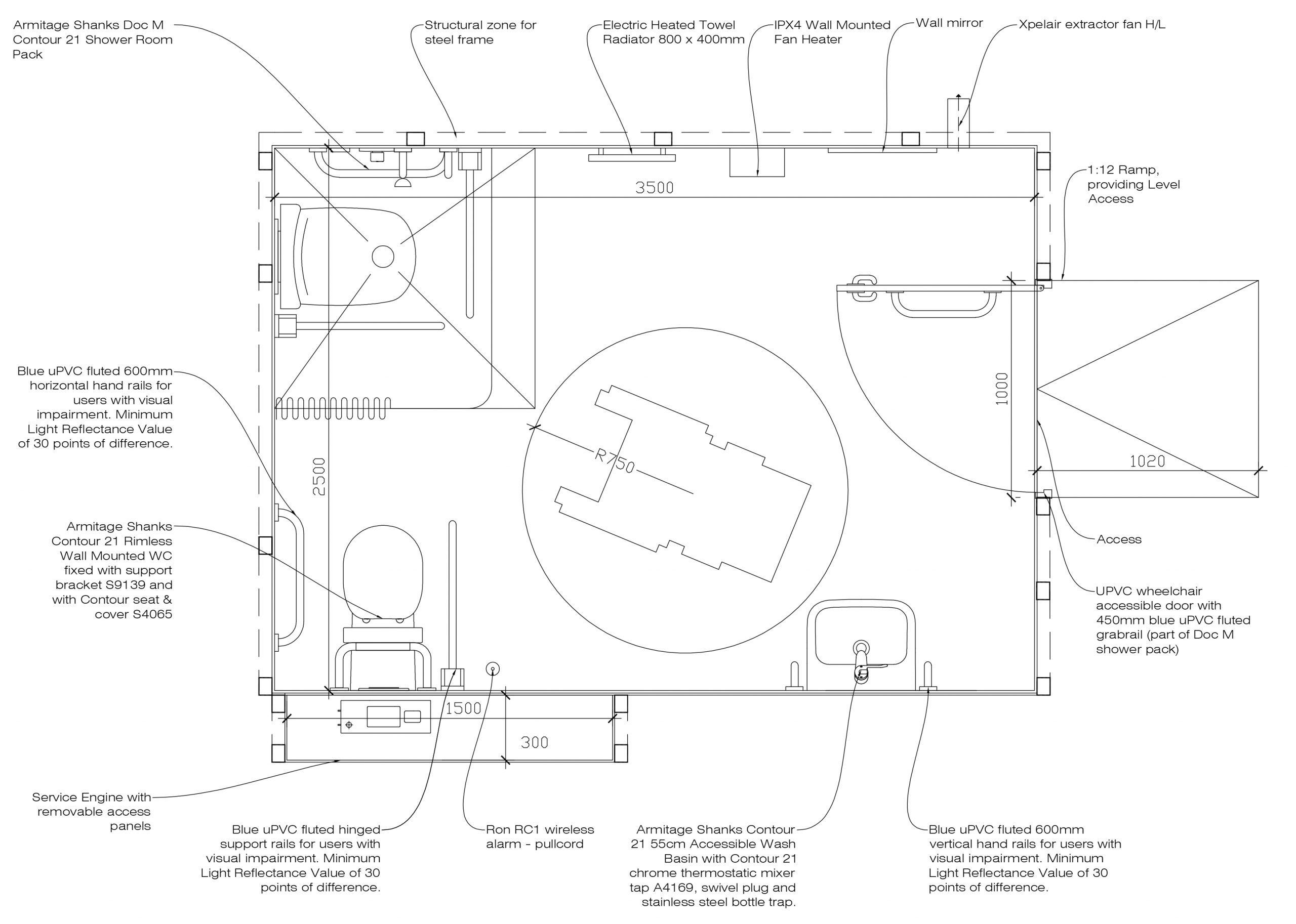Architects Drawing of Full Size Internal WashPod
