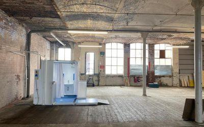 WashPod Micro on location for BBC Children's TV in a Grade II listed Bolton Cotton Mill